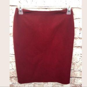 Talbots Red Wool Nylon Pencil Skirt 2P 2 Petite